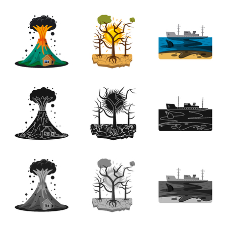 Isolated object of natural and disaster symbol. Set of natural and risk stock symbol for web.