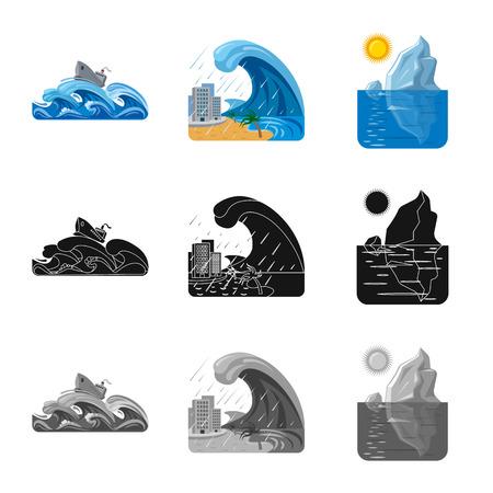 Illustration vectorielle du signe naturel et catastrophe. Ensemble d'icône de vecteur naturel et risque pour le stock.