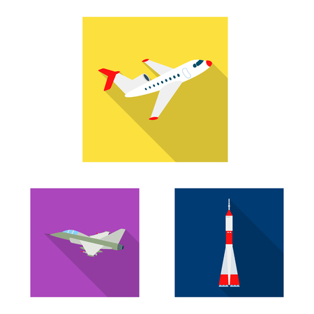 Vector illustration of plane and transport sign. Collection of plane and sky stock symbol for web. Illustration