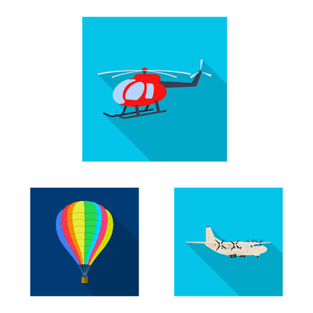 Vector illustration of plane and transport  . Set of plane and sky stock symbol for web.