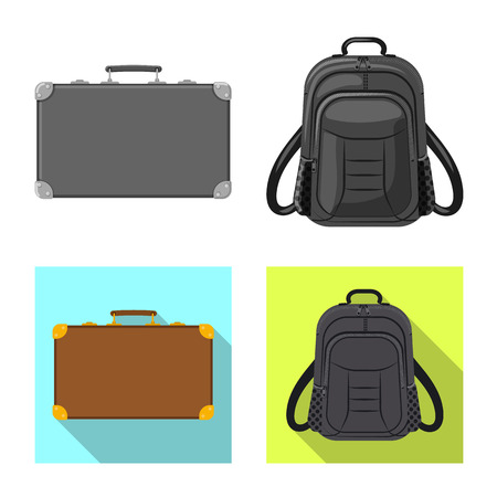 Vector design of suitcase and baggage symbol. Collection of suitcase and journey stock symbol for web.