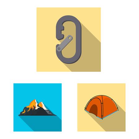 Vector design of mountaineering and peak . Set of mountaineering and camp stock symbol for web.