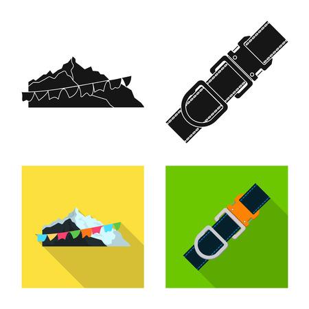 Vector design of mountaineering and peak symbol. Set of mountaineering and camp stock vector illustration. Иллюстрация