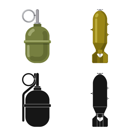 Isolated object of weapon and gun  . Set of weapon and army vector icon for stock