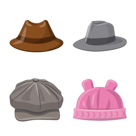 Vector illustration of headgear and cap  . Collection of headgear and accessory vector icon for stock. Illustration