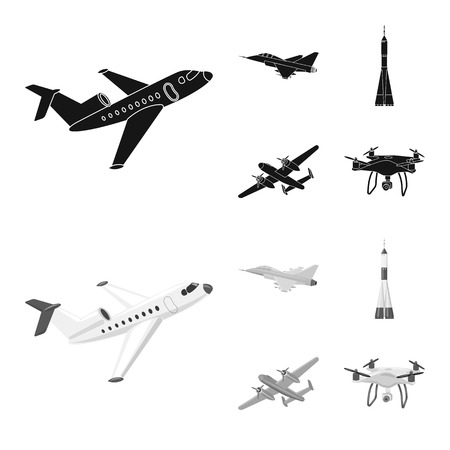 Isolated object of plane and transport icon. Collection of plane and sky stock symbol for web. 向量圖像