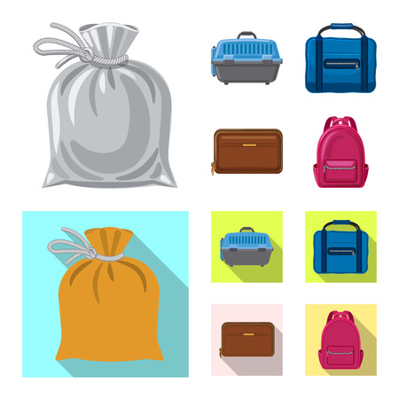 Vector illustration of suitcase and baggage sign. Collection of suitcase and journey stock vector illustration. Illustration