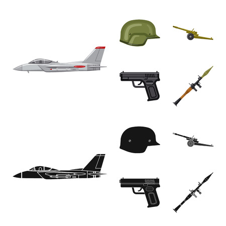 Vector illustration of weapon and gun logo. Set of weapon and army stock symbol for web.