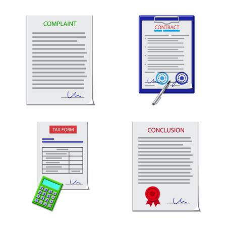 Vector ontwerp van vorm en documentsymbool. Collectie van vorm en merk aandelensymbool voor web. Vector Illustratie