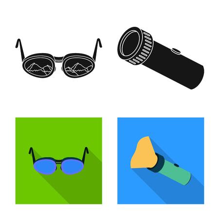 Vector illustration of mountaineering and peak logo. Set of mountaineering and camp vector icon for stock.