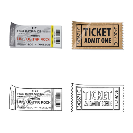 Vector illustration of ticket and admission icon. Set of ticket and event stock symbol for web.
