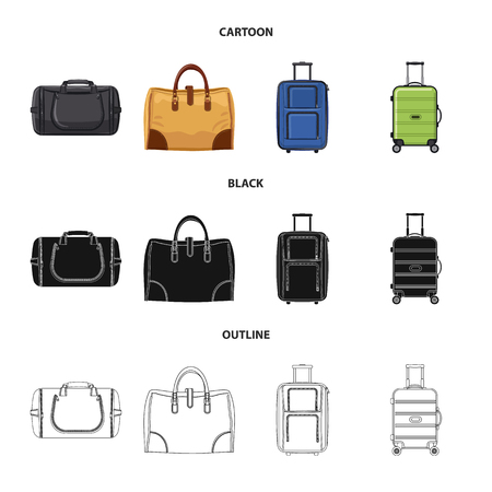 Isolated object of suitcase and baggage logo. Set of suitcase and journey vector icon for stock.