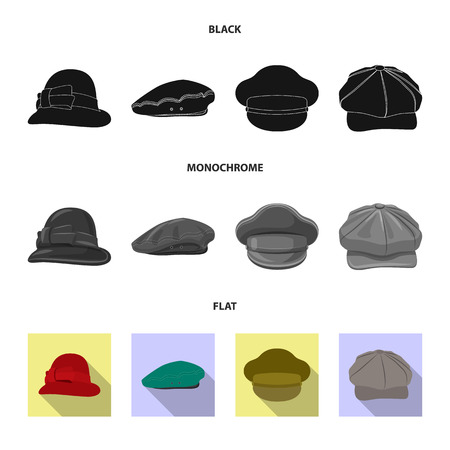 Vector illustration of headgear and cap symbol. Collection of headgear and accessory stock symbol for web.