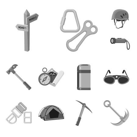 Vector design of mountaineering and peak symbol. Set of mountaineering and camp vector icon for stock. Vettoriali