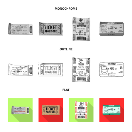 Vector design of ticket and admission icon. Set of ticket and event stock symbol for web.  イラスト・ベクター素材
