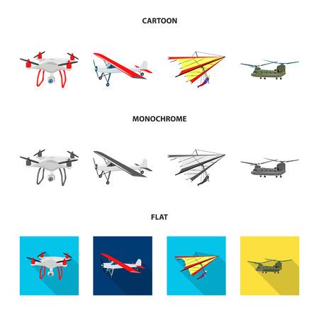 Diseño vectorial de avión y signo de transporte. Conjunto de icono de vector de avión y cielo para stock. Ilustración de vector