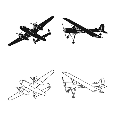 Vector design of plane and transport logo. Collection of plane and sky stock symbol for web.