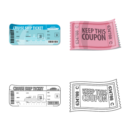 Vector design of ticket and admission symbol. Collection of ticket and event vector icon for stock. Illustration