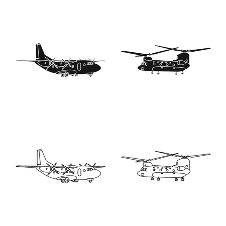 Isolated object of plane and transport symbol. Set of plane and sky vector icon for stock. Vektorové ilustrace
