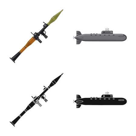Vector design of weapon and gun symbol. Set of weapon and army vector icon for stock. Illustration
