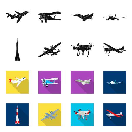 Objet isolé de signe d'avion et de transport. Ensemble de symbole boursier avion et ciel pour le web.