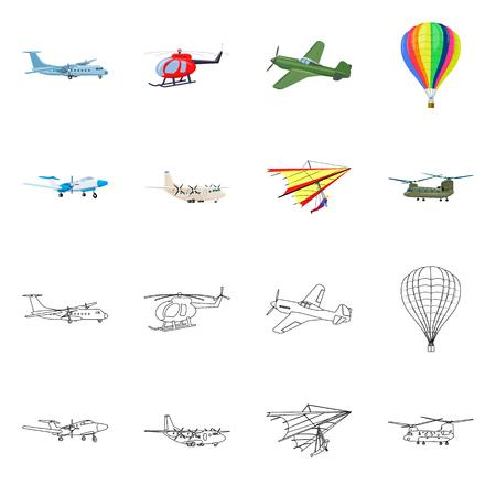 Objeto aislado de avión y signo de transporte. Conjunto de ilustración de vector stock avión y cielo. Ilustración de vector