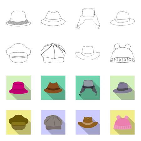 Isolated object of headgear and cap logo. Set of headgear and accessory stock symbol for web. 矢量图像
