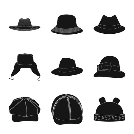 Isolated object of headgear and cap symbol. Collection of headgear and accessory stock symbol for web. Illustration