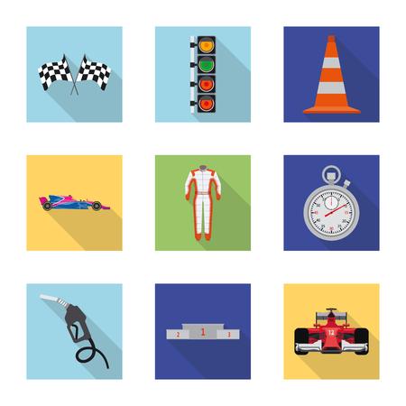 Vektorillustration des Autos und der Rallyeikone. Satz Auto- und Rennvorratvektorillustration.