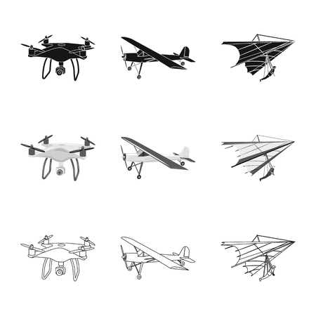 Vector illustration of plane and transport sign. Collection of plane and sky stock symbol for web. Çizim