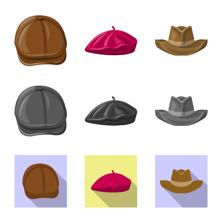 Vector illustration of headgear and cap symbol. Set of headgear and accessory stock vector illustration. Illustration