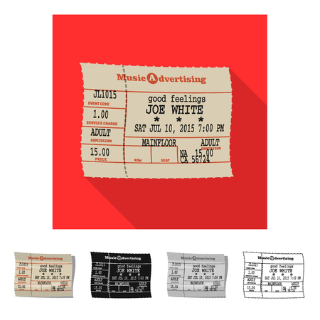 Vector illustration of ticket and admission icon. Collection of ticket and event stock symbol for web.