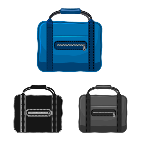Vector illustration of suitcase and baggage icon. Set of suitcase and journey stock vector illustration. Vettoriali