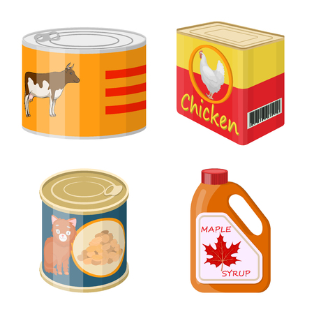 Vector illustration of can and food sign. Set of can and package stock symbol for web.