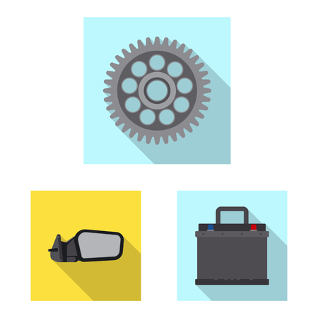 Vector illustration of auto and part sign. Set of auto and car stock symbol for web.