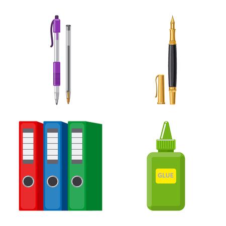 Vektorillustration des Büro- und Versorgungszeichens. Satz Büro- und Schulvorratsymbol für Web. Vektorgrafik