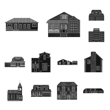 Isolated object of building and front logo. Collection of building and roof stock symbol for web.