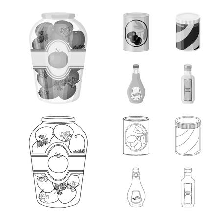 Vectorillustratie van kan en voedselpictogram. Verzameling van kan en pakket vector pictogram voor voorraad.