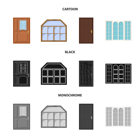 Vector design of door and front logo. Collection of door and wooden vector icon for stock. Illustration