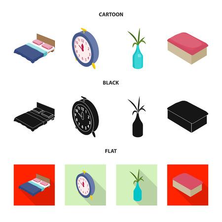 Vector design of bedroom and room logo. Set of bedroom and furniture stock vector illustration. Illustration