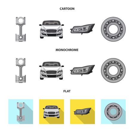 Objeto aislado del logotipo de auto y pieza. Colección de símbolo de stock de automóviles y automóviles para web.