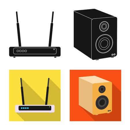 Vektorillustration des Laptop- und Gerätezeichens. Satz von Laptop- und Server-Lager-Symbol für Web.