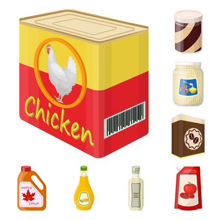 Isolated object of can and food icon. Set of can and package vector icon for stock.