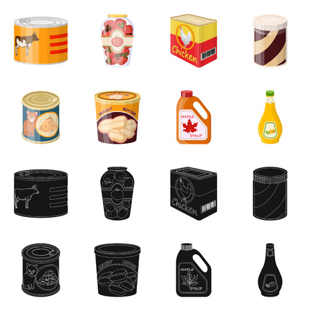 Vector design of can and food symbol. Set of can and package stock symbol for web.