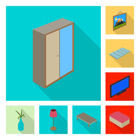 Vector illustration of bedroom and room logo. Set of bedroom and furniture stock symbol for web. Illustration