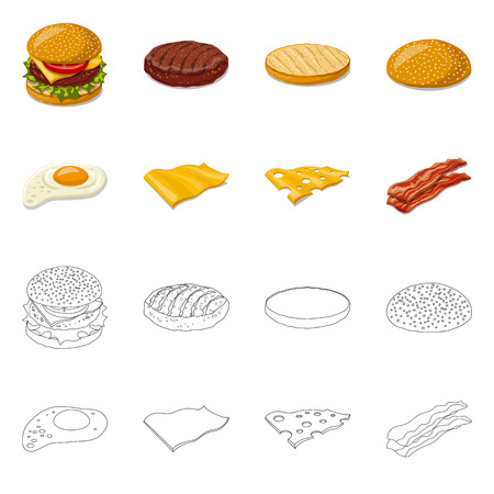 Isolated object of burger and sandwich icon. Set of burger and slice stock symbol for web. Vector Illustratie