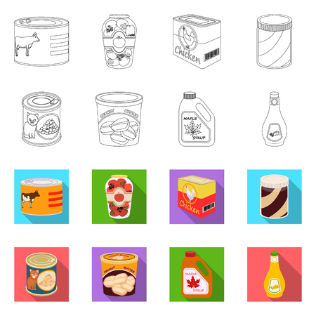Vector design of can and food logo. Set of can and package vector icon for stock.