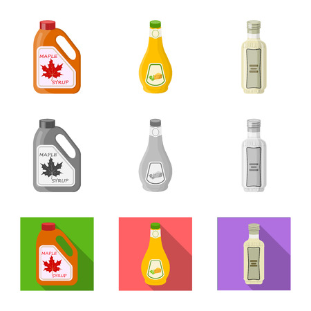 Vector illustration of can and food icon. Collection of can and package stock symbol for web.