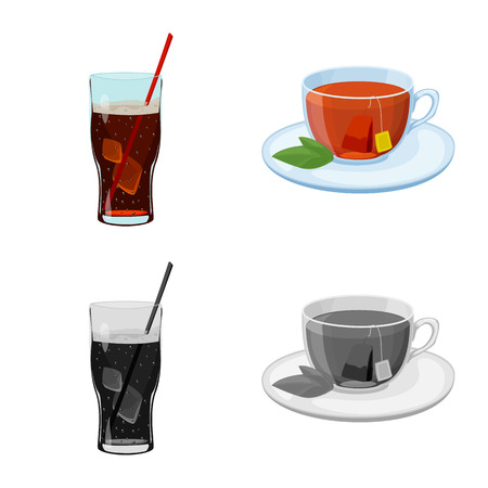 Vector illustration of drink and bar symbol. Set of drink and party stock vector illustration.