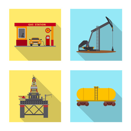 Vector illustration of oil and gas logo. Collection of oil and petrol stock symbol for web.